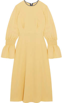 Roksanda Duana Shirred Silk-georgette Midi Dress - Pastel yellow