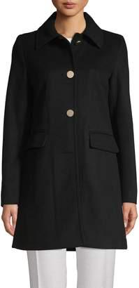 T Tahari Sophie Wool-Blend A-Line Coat