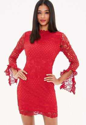 Missguided Red High Neck Crochet Long Sleeve Mini Dress