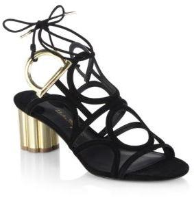 Salvatore Ferragamo Vinci 55 Gancio Heel Suede Sandals