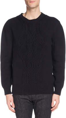 Alexander McQueen Men's Crewneck Cable-Knit Cotton Sweater