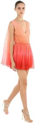 Alberta Ferretti Degrade Chiffon Mini Dress W/ Cape