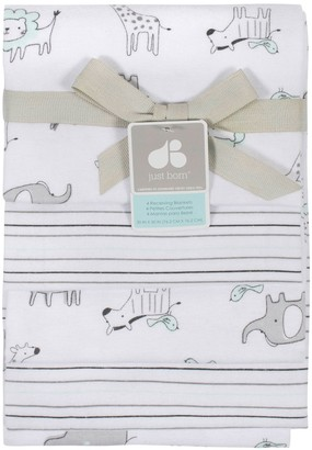 Just Born 4-pack Flannel Triangle Swaddle Blankets