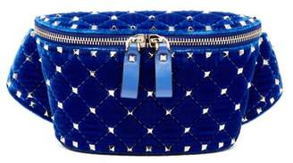 Valentino Rockstud Spike Quilted Velvet Belt Bag - Womens - Blue