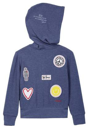 Peace Love World Comfy Patch Detail Hoodie (Big Girls)