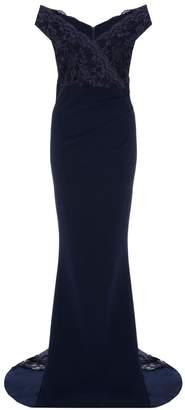 Quiz Navy Lace Bardot Fishtail Maxi Dress