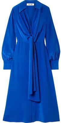 Diane von Furstenberg Tie-front Silk Crepe De Chine Midi Dress - Cobalt blue