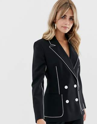 Asos Design DESIGN suit blazer in mono with contrast piping