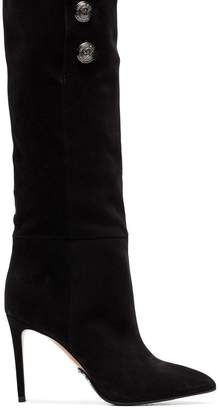 Balmain black Jane 95 buttoned suede knee-high boots