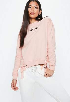 Missguided Pink Lets Go Graphic Lace Up Sweatshirt