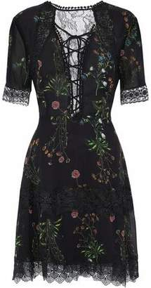 Nicholas Lace-Paneled Floral-Print Silk-Chiffon Mini Dress