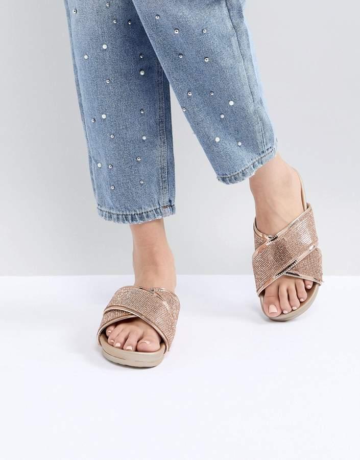 Public Desire Envy Rose Gold Glitter Cross Front Sandals