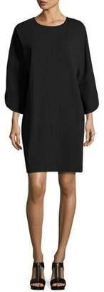 Joan Vass Tulip-Sleeve Cotton-Interlock Dress
