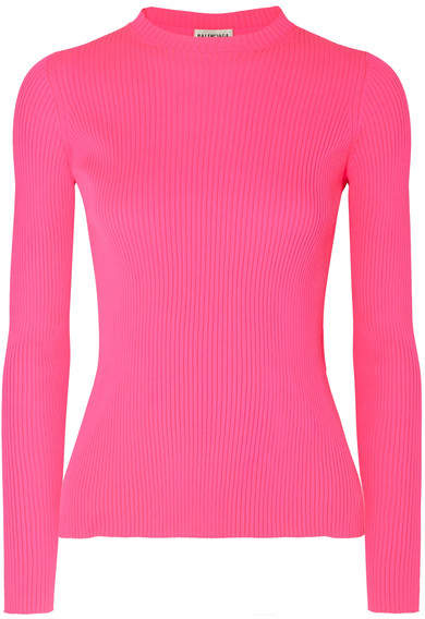 Balenciaga - Neon Ribbed-knit Top - Pink