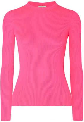 Balenciaga Neon Ribbed-knit Top - Pink