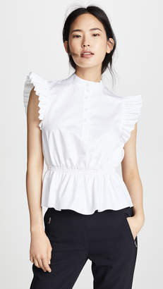 ADAM by Adam Lippes Ruffle Sleeve Top with Placket