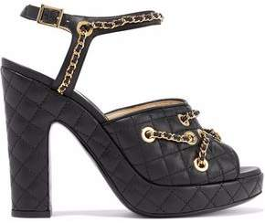 Moschino Chain-Embellished Quilted Leather Platform Sandals