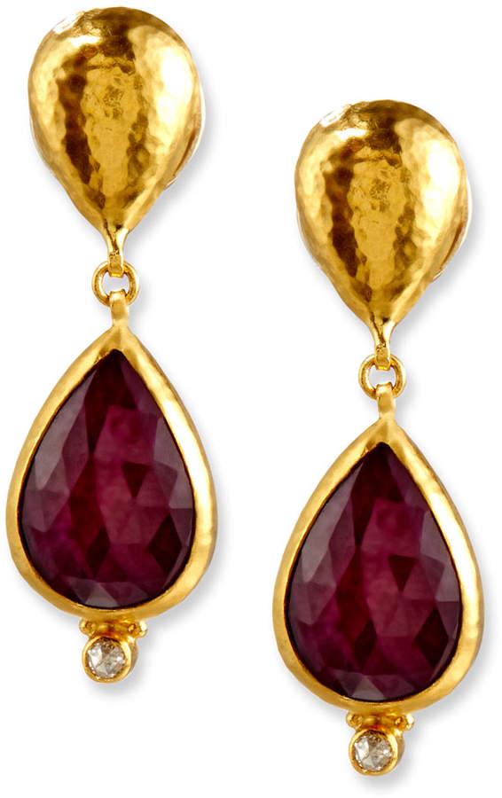 Gurhan Empress Rose-Cut Ruby Earrings with Diamonds