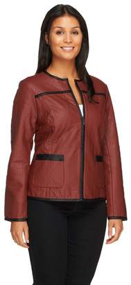 Joan Rivers Classics Collection Joan Rivers Quilted Faux Leather Zip-up Jacket