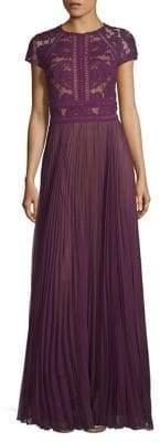 Tadashi Shoji Floral Lace Floor-Length Gown