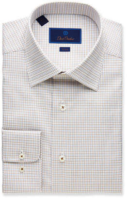 David Donahue Men's Trim-Fit Glen Plaid Dress Shirt
