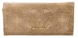 Miu Miu Leather Continental Wallet Cognac Leather Continental Wallet