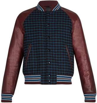 Prada Leather-sleeve checked wool bomber jacket