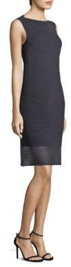 Lafayette 148 New York Plated Sheer Stripe Dress $448 thestylecure.com