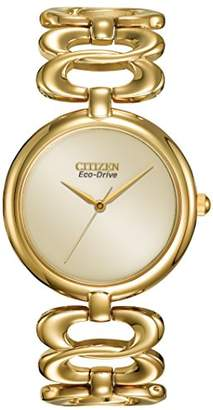 Citizen Women's Silhouette Eco Drive Watch with Yellow Dial Analogue Display and Silver Stainless Steel Gold Plated Bracelet EM0222-58P