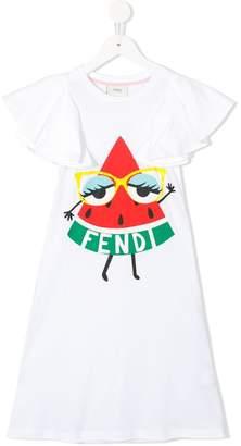 Fendi logo watermelon print dress