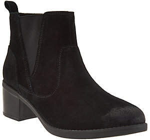 Clarks Suede Stacked Heel Ankle Boots -Nevella Bell
