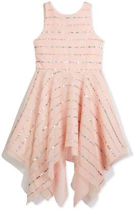 Zoe Tulle Sequin Stripe Dress, Pink, Size 4-6X
