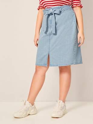 Shein Plus Slit Hem Belted Straight Denim Skirt
