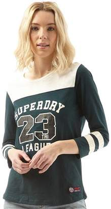 Superdry Womens Tri League Baseball Top Pine/Vintage White