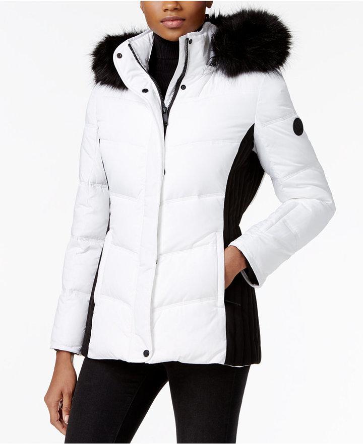 Calvin KleinCalvin Klein Faux-Fur-Trim Water-Resistant Puffer Coat