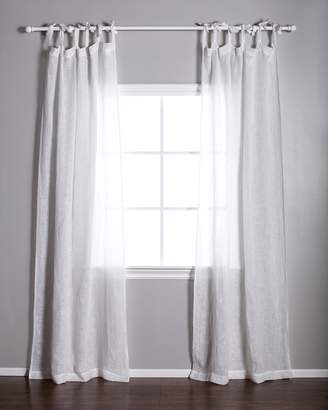 Lulu & Georgia Pom Pom at Home Linen Voile Tie-Top Curtain, White