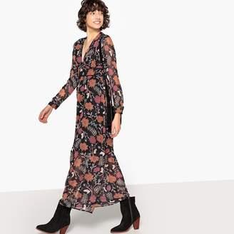 74e688a0fac0 SEE U SOON Floral Print V-Neck Long-Sleeved Maxi Dress