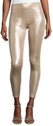 Halston Slim-Fit Metallic Jersey Leggings, Champagne