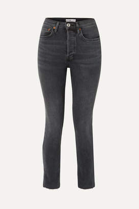 RE/DONE Comfort Stretch Cropped High-rise Skinny Jeans - Gray