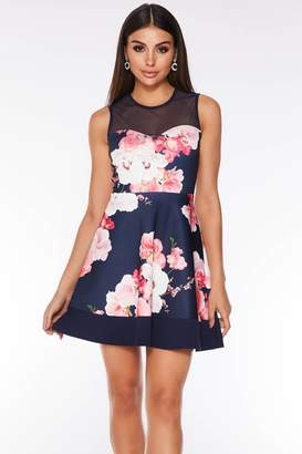 f49621871d Quiz Navy and Pink Mesh Floral Skater Dress