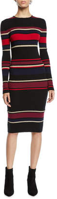 Cupcakes And Cashmere Jaslene Striped Long-Sleeve Sweater Dress