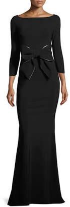 La Petite Robe di Chiara Boni Brest 3/4-Sleeve Stretch Jersey Gown, Black/White $995 thestylecure.com