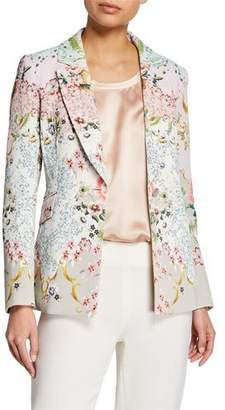 Badgley Mischka Alice Printed One-Button Jacket