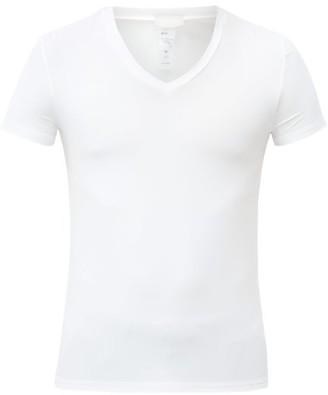 Hanro V Neck Micro Touch Jersey T Shirt - Mens - White