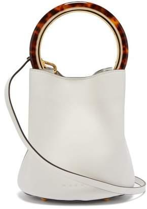 Marni Pannier Leather Cross Body Bag - Womens - White