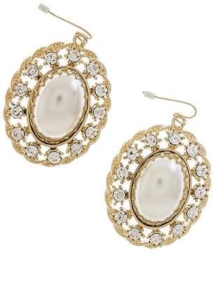 Karmas Canvas Oval Pearl Crystal Frame Earrings
