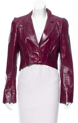 Richard Chai Leather Notch-Lapel Jacket