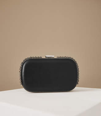 Reiss VICTORIA CRYSTAL EMBELLISHED LEATHER CLUTCH Black