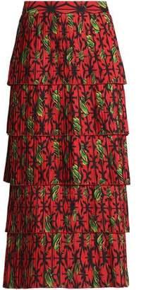 Stella Jean Tiered Pleated Printed Crepe Midi Skirt