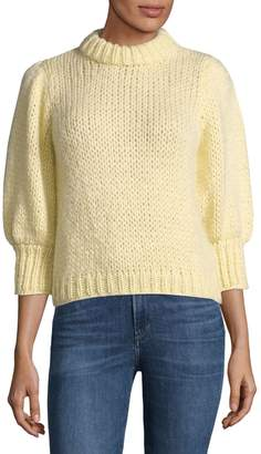 Ganni Puff-Sleeve Mohair Wool Knit Sweater